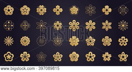 Big Vector Collection Of Sakura Flowers Icons. 32 Japanese Cherry Blossom Symbols Isolated On Dark B
