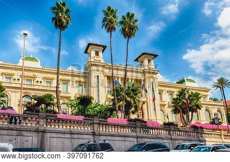 Facade Of The Scenic Sanremo Casino, Italy. The Building Is One Of The Main Landmarks Of The Liguria