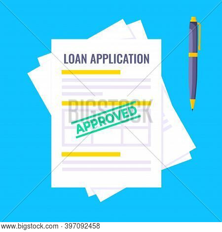 Approved Credit Or Loan Form With Document File And Claim Form On It, Paper Sheets Isolated On Gray
