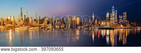New York City midtown skyline day and night blend viewed from New Jersey