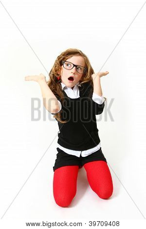 Surprised Girl With Glasses Isolated On White Background