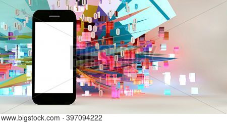 Mobile Phone App Download Now Exciting Background 3d render