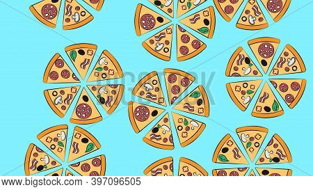 Pizza On A Blue Background, Vector Illustration, Pattern. Pizza With Various Fillings. Seamless Patt