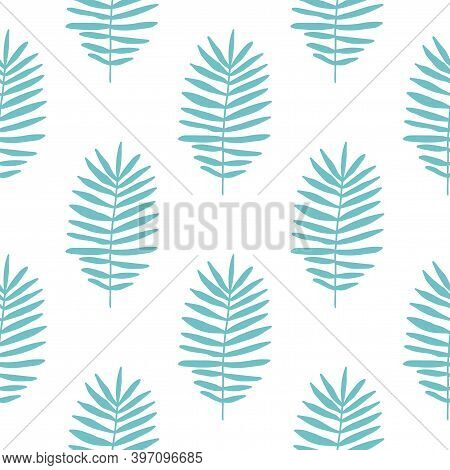 Tropical Background With Blue Hand Drawn Palm Leaves On White. Tropic Seamless Pattern. Vector Illus