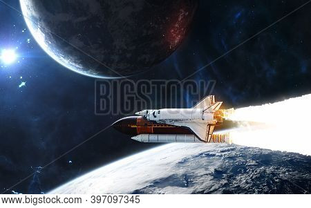 Deep Space. Space Shuttle Orbiting Planet In Light Of Blue Star. Science Fiction. Elements Of This I