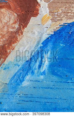 Macrophotography Of Hand Drawn Abstract Acrylic Colorful Background Painting With Spots And Splashes