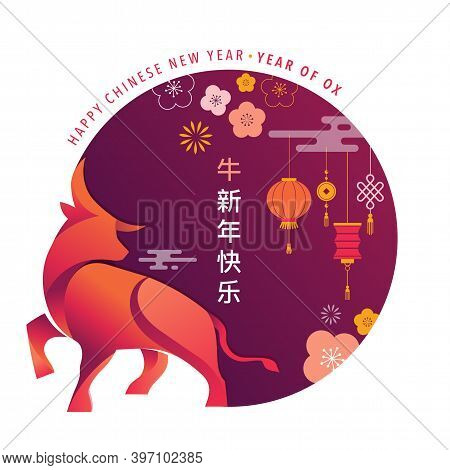 Chinese New Year 2021 Year Of The Ox, Red Cow, Chinese Zodiac Symbol. Vector Background With Traditi