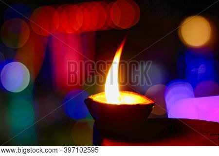 A Closeup Of A Diya / Lamp During Hindu Indian Festival Diwali. Deepavali Background Image Of A Ligh