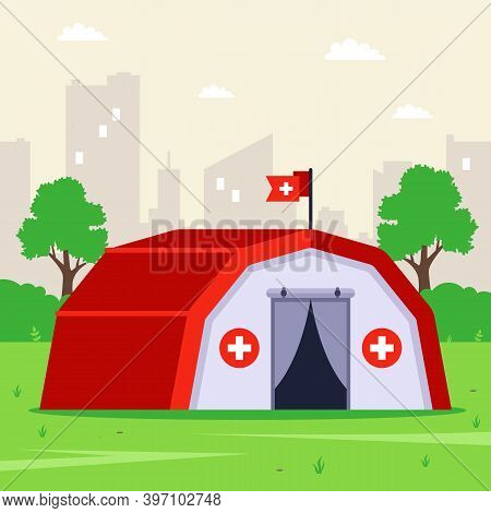Medical Tent On A Green Field For Urgent Assistance To The Population. Flat Vector Illustration.