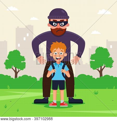 A Thug Kidnaps A Child For Ransom. Flat Vector Character Illustration.