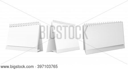 Vertical And Horizontal Set Realistic Paper Calendar Blank. Calendars Of Different Sizes. White Blan