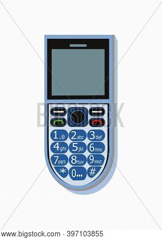Picture Of A Blue Color, Mobile Phone, Having A Numeric Keypad And Display.