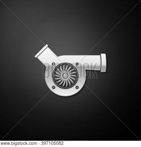 Silver Automotive Turbocharger Icon Isolated On Black Background. Vehicle Performance Turbo. Car Tur