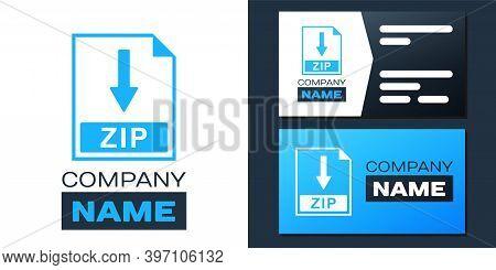 Logotype Zip File Document Icon. Download Zip Button Icon Isolated On White Background. Logo Design