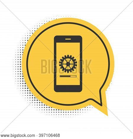 Black Smartphone Update Process With Gearbox Progress And Loading Bar Icon Isolated On White Backgro