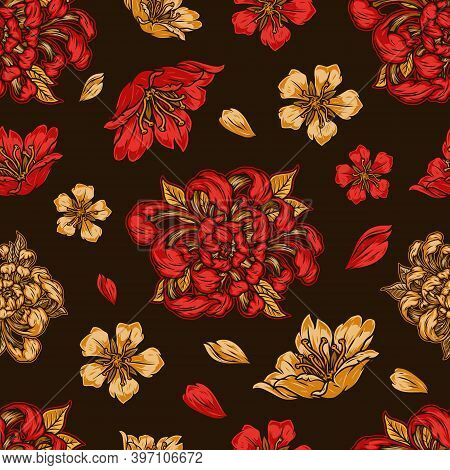 Japanese Floral Vintage Seamless Pattern With Blooming Sakura And Chrysanthemum Flowers On Dark Back