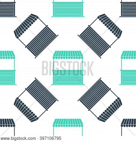 Green Street Stall With Awning And Wooden Rack Icon Isolated Seamless Pattern On White Background. K