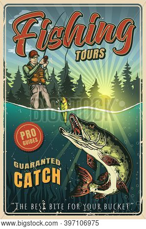 Vintage Colorful Fishing Poster With Fisherman Caught Pike On Bait Vector Illustration