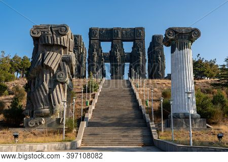Tbilisi, Georgia - 28 November, 2020: Monument Known As Chronicle Of Georgia Or History Memorial Of