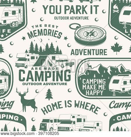 Set Of Outdoor Adventure Seamless Pattern, Background. Vector Illustration. Seamless Camping Pattern