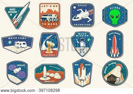 Set Of Space Mission Logo, Badge, Patch. Vector Illustration Concept For Shirt, Print, Stamp. Vintag