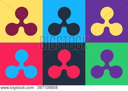 Pop Art Cryptocurrency Coin Ripple Xrp Icon Isolated On Color Background. Digital Currency. Altcoin