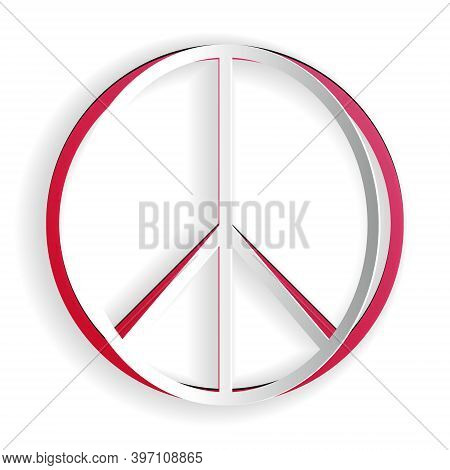 Paper Cut Peace Sign Icon Isolated On White Background. Hippie Symbol Of Peace. Paper Art Style. Vec