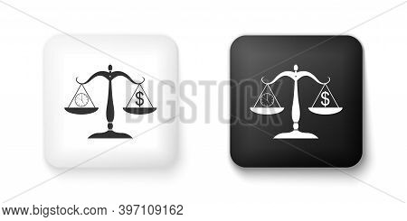 Black And White Scale Weighing Money And Time Icon Isolated On White Background. Scales With Hours A