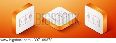 Isometric Football Field Or Soccer Field Icon Isolated On Orange Background. Orange Square Button. V