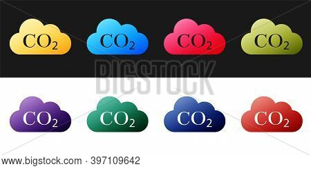 Set Co2 Emissions In Cloud Icon Isolated On Black And White Background. Carbon Dioxide Formula Symbo