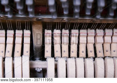 Mechanics Hammer Close Up Inside Of An Upright Piano, Inside Of An Old Piano Before Tuning.