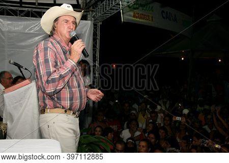 Santa Cruz Cabralia, Bahia, Barazil - April 26, 2008: The Singer Sergio Reis Is Seen During A Perfor