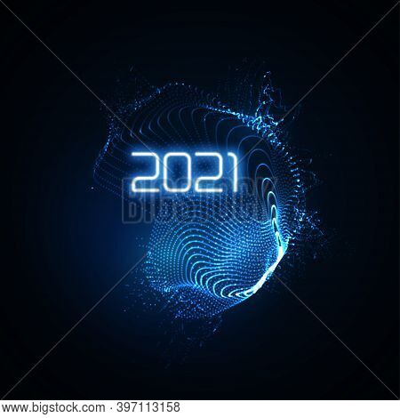 Happy New 2021 Year. Futuristic Glowing Neon Light Splash With Bursting Light Rays. Vector Holiday I