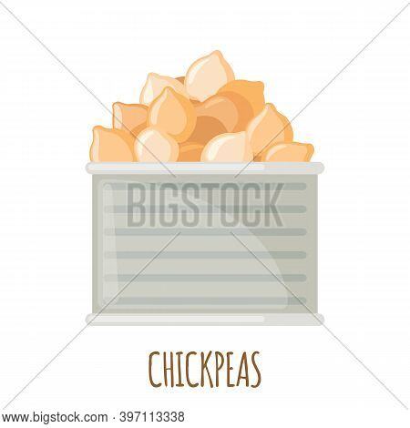 Vector Chickpeas In Can Icon In Flat Style Isolated On White.