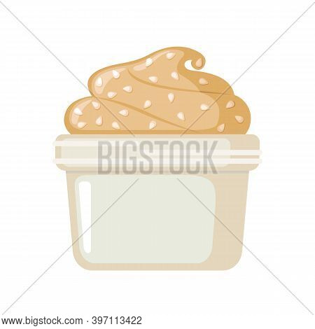 Vector Tahini Sesame Seed Paste Icon In Flat Style Isolated On White.