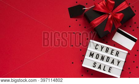 Banner Concept For Cyber Monday Celebration,lettering.white Board With Text Cyber Monday Sale,gift B