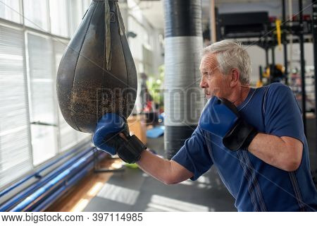 Old Man Hitting A Punching Bag. Senior Man In Blue Gloves Practicing Boxing On The Punching Bag.