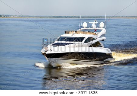 High Speed Yacht On River