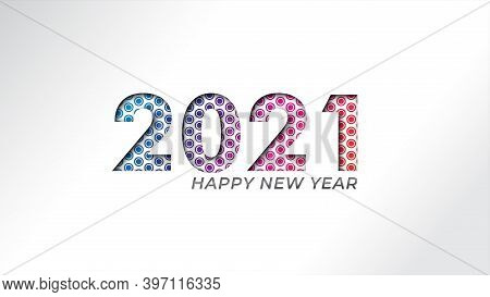 2021 New Year Banner. Paper Cut Numbers With Bright Colors Circle Round Shapes. Minimal Cover Design