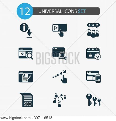 Business Icons Set With Keyword Ranking, Seo Guide, Customer Testimonials And Other Key Sorting Elem