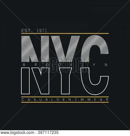 Lettering of NYC, new york city and brooklyn with Illustration vector graphic. suitable t for t-shirts design, clothing, hoodies, etc.