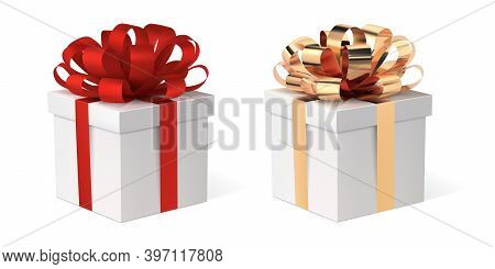 Gift Box With Ribbon, Vector Isolated Illustration. Present With A Red And A Gold Bow. Xmas Boxes Se