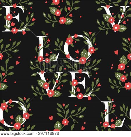 Valentines Floral Hand Drawn Seamless Pattern Design. Simple Black And White Botany Love Background.