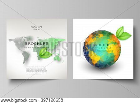 Vector Layout Of Two Square Format Covers Design Templates For Brochure, Flyer, Cover Design, Book D