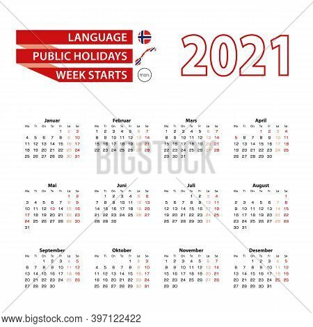 Calendar 2021 In Norwegian Language With Public Holidays The Country Of Norway In Year 2021. Week St