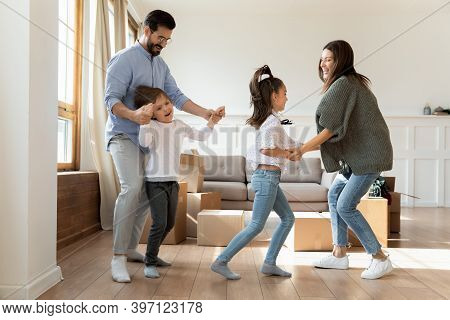 Overjoyed Family Renters With Kids Celebrate Relocation