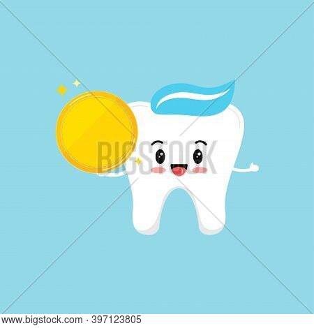 Cute Tooth Molar With Gold Coin. Happy White Tooth And Money Isolated On Background. Children Teeth
