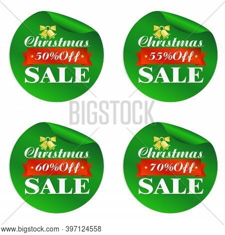 Christmas Sale Green Stickers Set 50%, 55%, 60%, 70% Off With Gold Bell And Red Ribbon. Vector Illus