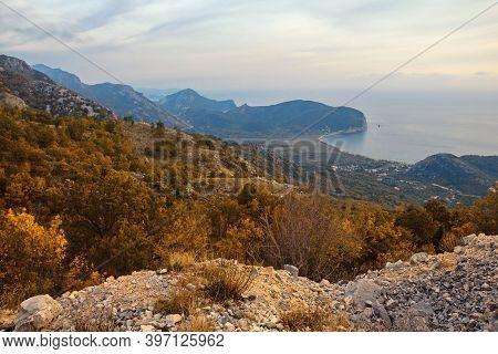 Beautiful Autumn Mediterranean Landscape. Montenegro, Coast Of Adriatic Sea Near Town Of Budva