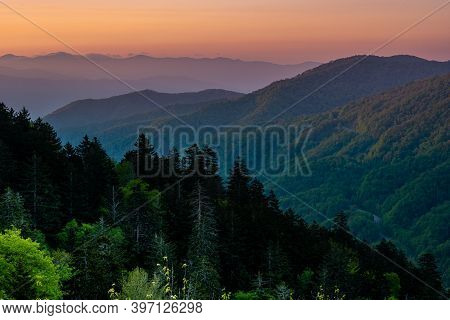 Sunrise Colors Over Newfound Gap In Great Smoky Mountains National Park